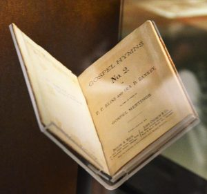 """""""Gospel Hymns No. 2"""" by P. P. Bliss and Ira D. Sankey (1876), personal hymnal of Harriet Tubman. Photographed at National Museum of African American History & Culture, Smithsonian Institution, Washington, DC by Adam Fagen. Used under CC BY-NC-SA 2.0"""