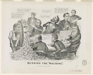 """Running the Machine""- a Civil War era political cartoon highlighting distrust of the government and its ""greenback machine."" Credit: Library of Congress."