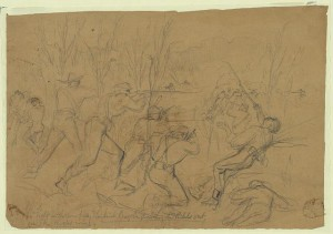 'The fight in the cornfield; The Irish Brigade driving the rebels out.' Pencil drawing of the 1862 Battle of Antietam. Credit: Library of Congress.
