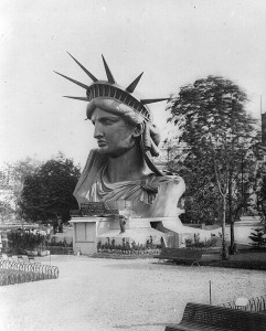 The Statue of Liberty was displayed in Paris during the 1878 World's Fair while still under construction. Wikimedia Commons.