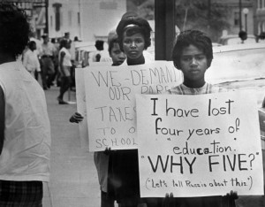 Students protesting school closures in Prince Edward County, VA, 1963 (Credit: Virginia Historical Society)