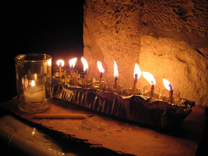 A photo of the eighth night of Chanukkah in Meah Shearim. (Submitted by Rabbi Tuvia Genuth)