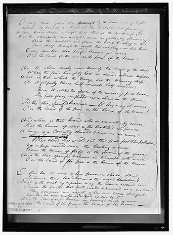 """An image of """"Original manuscript of Star Spangled Banner"""" by Harris & Ewing, 1914. Source: Library of Congress"""