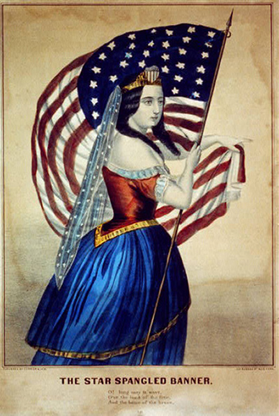 """Image of """"The star spangled banner,"""" published by Currier & Ives between 1856 and 1907. Source: Library of Congress"""
