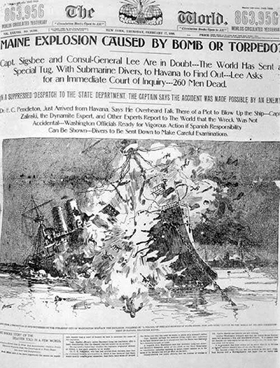 """Pulitzer's treatment in the World emphasizes a horrible explosion."" Front page of New York World, Feb. 17, 1898. Source. Wikimedia Commons"