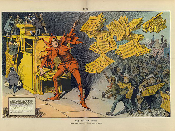"An image of ""The yellow press"" by L.M. Glackens. Published in Puck Oct. 12, 1910. Source: Library of Congress"
