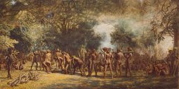 """A photo of """"Cannibal feast on the Island of Tanna, New Hebrides"""" by Charles E. Gordon Frazer. Source: Wikimedia Commons"""