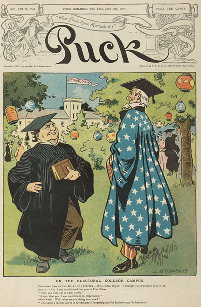 "On the electoral college campus by L.M. Glackens for Puck, June 12, 1907. Illustration shows Uncle Sam and William Jennings Bryan wearing caps and gowns during the graduation ceremonies at the ""Electoral College""; Jennings is holding a book ""Reveries of a Candidate""."