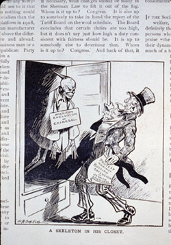 """Caricature showing Uncle Sam holding paper """"Protest against Russian exclusion of Jewish Americans"""" and looking in shock at Chinese skeleton """"American exclusion of Chinese"""" in closet. Circa 1912. Source: Library of Congress"""