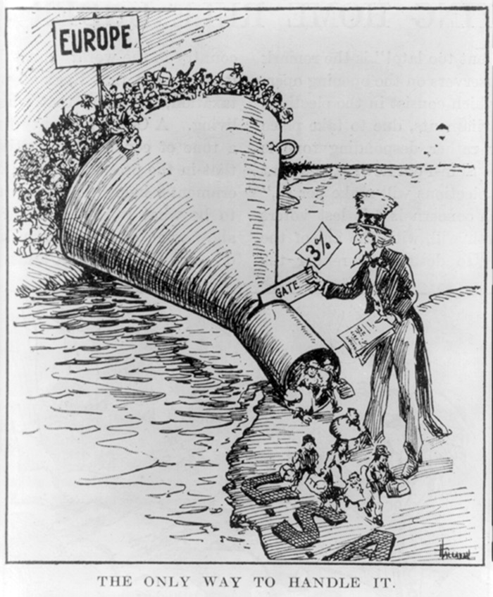 """Illus. for article """"an alien anti-dumping bill"""" in The Literary Digest, May 7, 1921, p. 13, reprinting a cartoon by Hallhan for Providence Evening Bulletin, showing funnel bridging Atlantic with top at Europe crammed with emigrants and bottom at U.S. with Uncle Sam permitting immigrants to trickle through. Source: Library of Congress"""