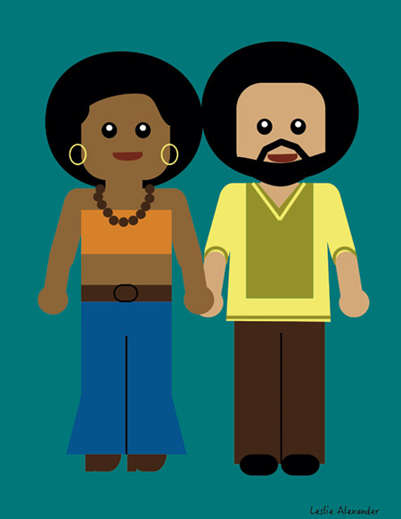 """""""Power Couple"""" an illustration of Dr. Harris and his wife drawn by their daughter Leslie."""