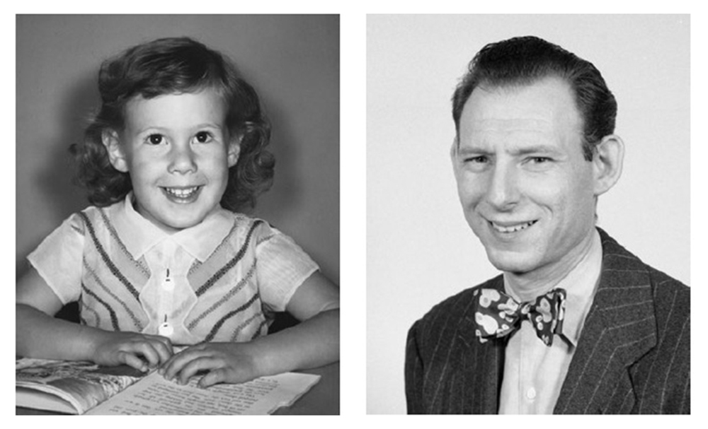A side-by-side image of Author D. Leah Steinberg, age 5 (left) and her father Ellis P. Steinberg , age 25. (Image courtesy of D. Leah Steinberg)