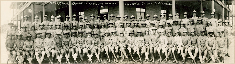 An image of the 5th Provisional Company officers reserve training Camp Ft. Des Moines Ia., 1917. Source: Library of Congress