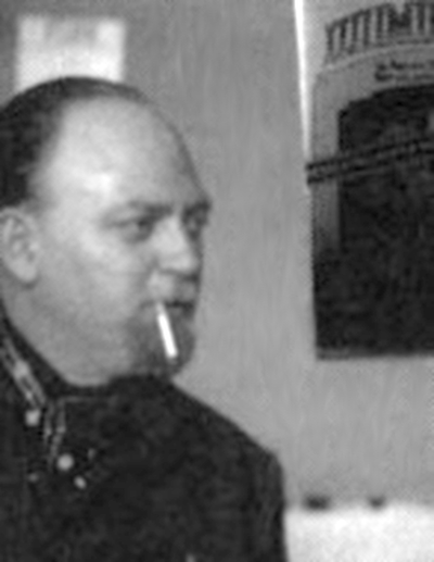 Black and White snapshot of Robert Anton Wilson, partially out of frame.