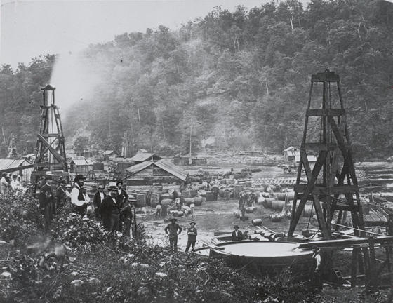 an early oil field exploitation in Pennsylvania, around 1962.