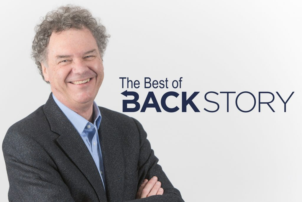 "Ed Ayers smiles next to the words ""The Best of BackStory"""