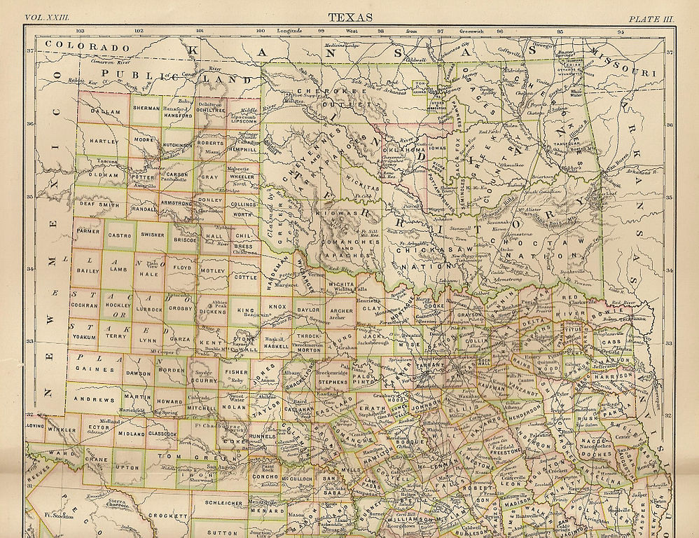 Map depicting Native American territories across Texas and Oklahoma.